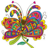 Butterfly lay flower Stock Images