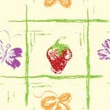 butterfly le pattern无缝的草莓 向量例证