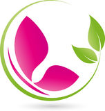 Butterfly and leaves, plant, wellness and butterfly logo Royalty Free Stock Photography