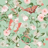 Butterfly and leaves, stems and inflorescences of peonies and roses vector illustration. Picture with pink, blue and white flowers