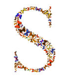 Butterfly letter. Butterfly font in white. Letter S Royalty Free Stock Image