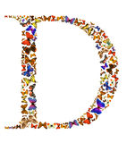 Butterfly letter. Butterfly font in white. Letter D Stock Photography