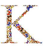 Butterfly letter. Butterfly font in white. Letter K Stock Photos