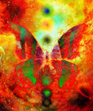 Butterfly with light energetic chakras in cosmic space. Painting and graphic design. Butterfly with ornament in cosmic space. Painting and graphic design Royalty Free Stock Photos