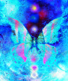 Butterfly with light energetic chakras in cosmic space. Painting and graphic design. Butterfly with ornament in cosmic space. Painting and graphic design royalty free illustration
