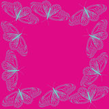 Butterfly line art blue on pink background as frame design Royalty Free Stock Image