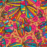 Butterfly line drawing free seamless pattern. This illustration is abstract free drawing butterflies with dot colors in seamless pattern Stock Photography
