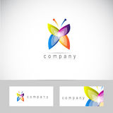 Butterfly logo. Abstract colored butterfly icon logo with business card template Royalty Free Stock Photos