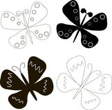 Butterfly logo. Black on white sketchBlack and white butterflies with outspread wings Stock Image