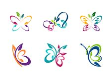 Butterfly logo, butterfly abstract concept. Butterfly logotype, set of collection abstract butterflies symbol icon vector design Royalty Free Stock Photography