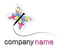 Butterfly logo. CMYK butterfly logo isolated on white Stock Photos