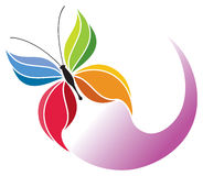 Butterfly Logo. A colorful rainbow butterfly is flying in this logo icon image Stock Photo