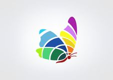 Butterfly logo. Colorful butterfly vector logo design template Stock Photo
