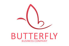 Butterfly logo. Logo design of a shape of smooth butterfly Stock Image