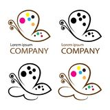 Butterfly logo  emblem template for branding Stock Images