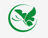Butterfly logo. Powerfull of green butterfly logo for company Royalty Free Stock Image