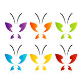 Butterfly logo in rainbow colors Royalty Free Stock Photography