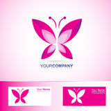 Butterfly logo for spa and beauty. Vector company logo element template of abstract pink butterfly for spa, beauty products, wellness, relaxation Royalty Free Stock Photo