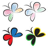 Butterfly logo vector set Royalty Free Stock Image