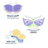 Butterfly logos. Butterfly labels and delicate logo. Sweet and tenderness symbols Stock Photography