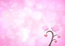 Butterfly and love heart tree cartoon on blur light pink heart b Royalty Free Stock Photos
