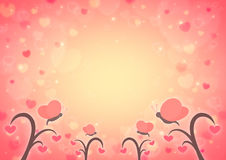 Butterfly and love heart tree cartoon on blur light red heart bo Royalty Free Stock Photos