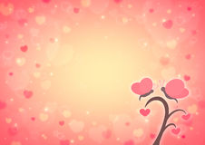 Butterfly and love heart tree cartoon on blur light red heart bo Royalty Free Stock Photography