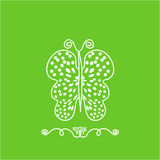 Butterfly made of flowers on a green background. Minimalism. Spring Summer. Stock Images