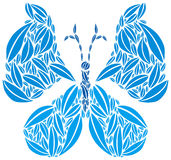 Butterfly made of Leaves in Blue Colors Royalty Free Stock Photography