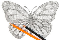 Butterfly made with pattern of dots. Royalty Free Stock Images