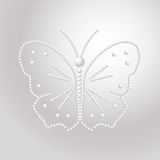 Butterfly made of pearls, vector a pattern of precious stones. Butterfly made of pearls, vector a pattern of precious stones Stock Image