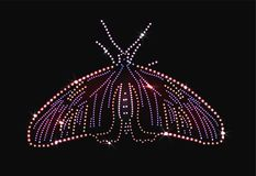 Butterfly made with precious gems on black background. For your design vector illustration
