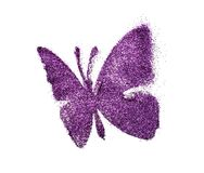 Butterfly made of realistic glitter dust on white background creative concept royalty free stock photos