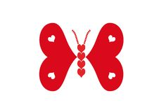 Butterfly made of red and white hearts vector illustration