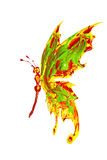 Butterfly made of yellow red green paint vector illustration