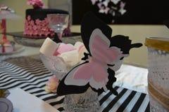Butterfly marshmallows. Bridal shower decor ideas Stock Photography