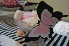 Butterfly marshmallows. Bridal shower decor ideas Royalty Free Stock Images