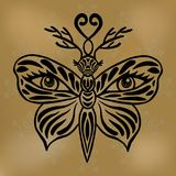 Butterfly mask vector, Beautiful fantasy butterfly with deer antlers and human eyes on its wings Hand drawn black butterfly tattoo Royalty Free Stock Photo