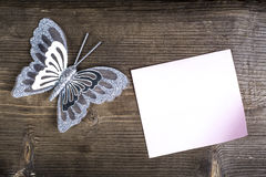 Butterfly with memo Royalty Free Stock Photos