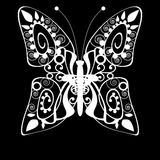 Butterfly monochrome white silhouette background Royalty Free Stock Image