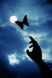 Butterfly with moon. A butterfly flying to moon, female hand trying to reach Stock Photography