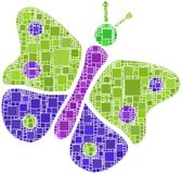Butterfly in a mosaic of squares Royalty Free Stock Image