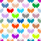 Butterfly multicolor silhouettes seamless pattern Royalty Free Stock Photos