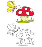 Butterfly and mushroom. Butterfly looking at mushroom. The black and white version is useful for coloring book pages for children stock illustration
