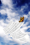 Butterfly with music sheet Royalty Free Stock Image