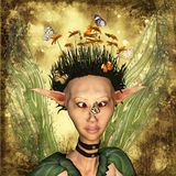 Butterfly on my nose. Illustration  of a fairy portrait ,3d render Royalty Free Stock Photography