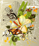 Butterfly and narcissus Royalty Free Stock Images