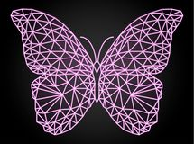 Butterfly with neon vector effect, low poly design stock photos