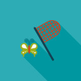 Butterfly net flat icon with long shadow Stock Image
