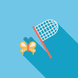 Butterfly net flat icon with long shadow. Cartoon vector illustration stock illustration